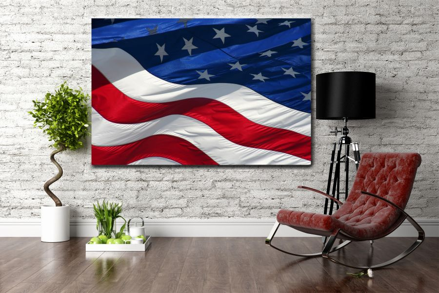 Canvas Art Wall Decor, PATRIOTIC, MILITARY , FLAGS, BATTLE SHIPS 60110 THUMBNAIL