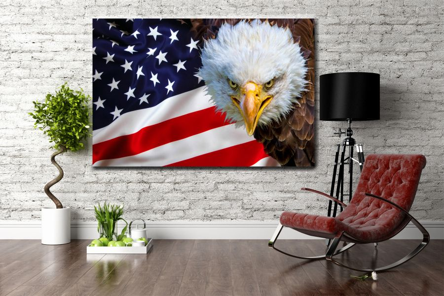 Canvas Art Wall Decor, PATRIOTIC, MILITARY , FLAGS, BATTLE SHIPS 60111 LARGE