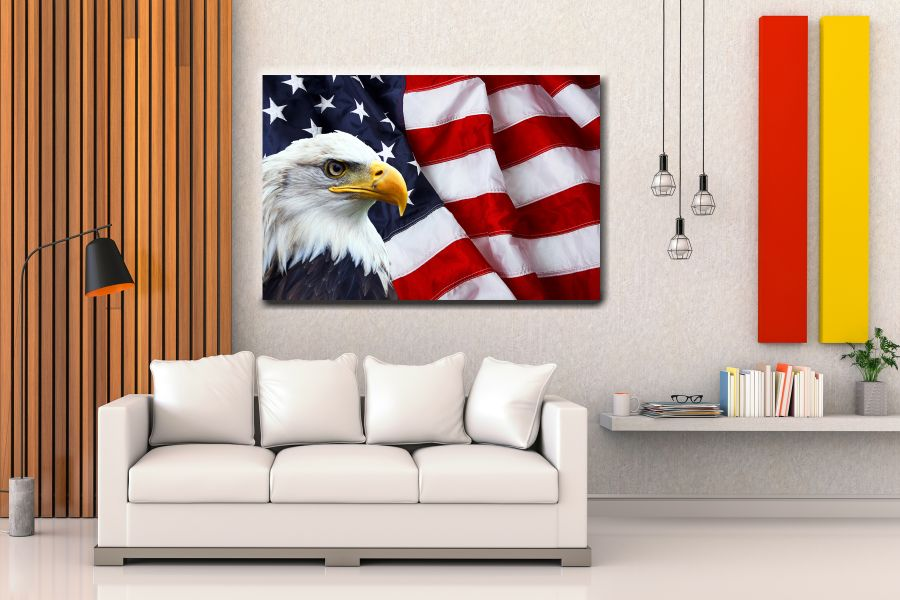 Canvas Art Wall Decor, PATRIOTIC, MILITARY , FLAGS, BATTLE SHIPS 60112 LARGE