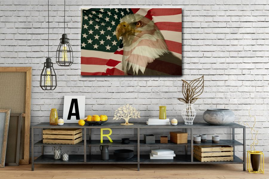 Canvas Art Wall Decor, PATRIOTIC, MILITARY , FLAGS, BATTLE SHIPS 60115 THUMBNAIL