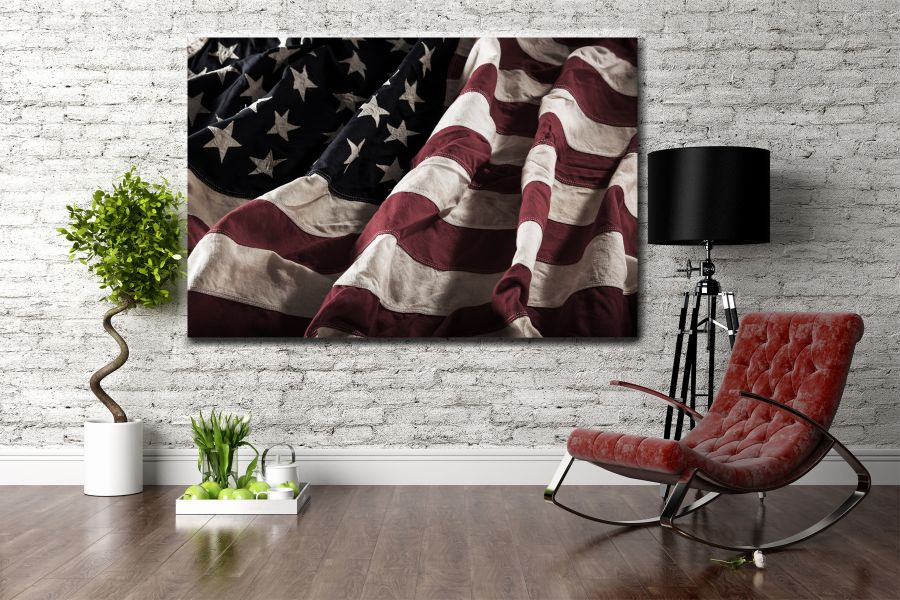 Canvas Art Wall Decor, PATRIOTIC, MILITARY , FLAGS, BATTLE SHIPS 60117 THUMBNAIL