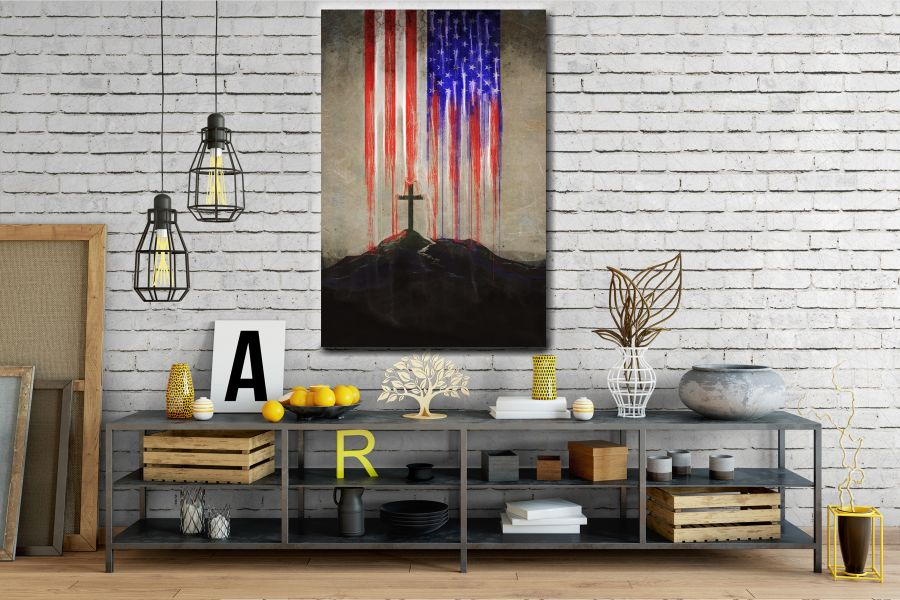 Canvas Art Wall Decor, PATRIOTIC, MILITARY , FLAGS, BATTLE SHIPS 60119 LARGE