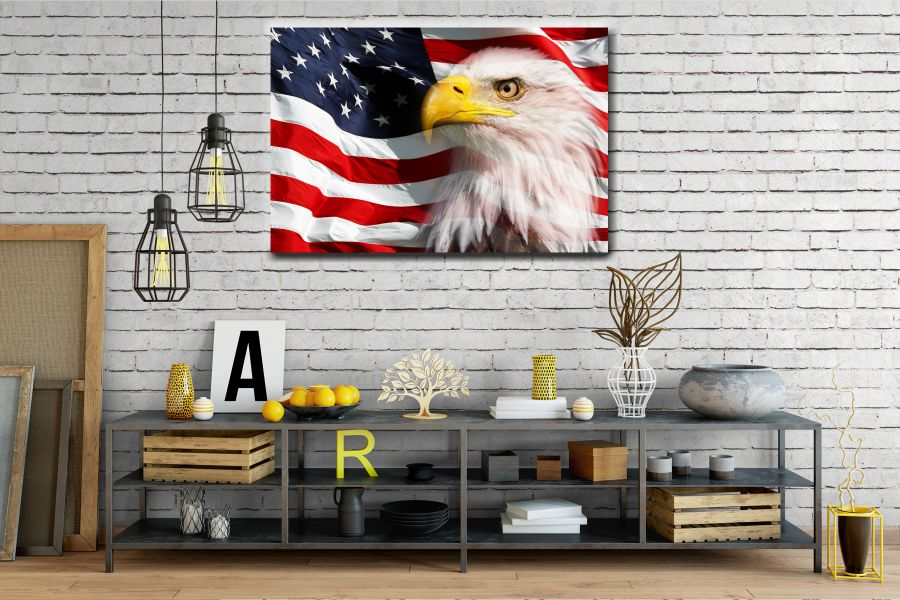 Canvas Art Wall Decor, PATRIOTIC, MILITARY , FLAGS, BATTLE SHIPS 60120 THUMBNAIL