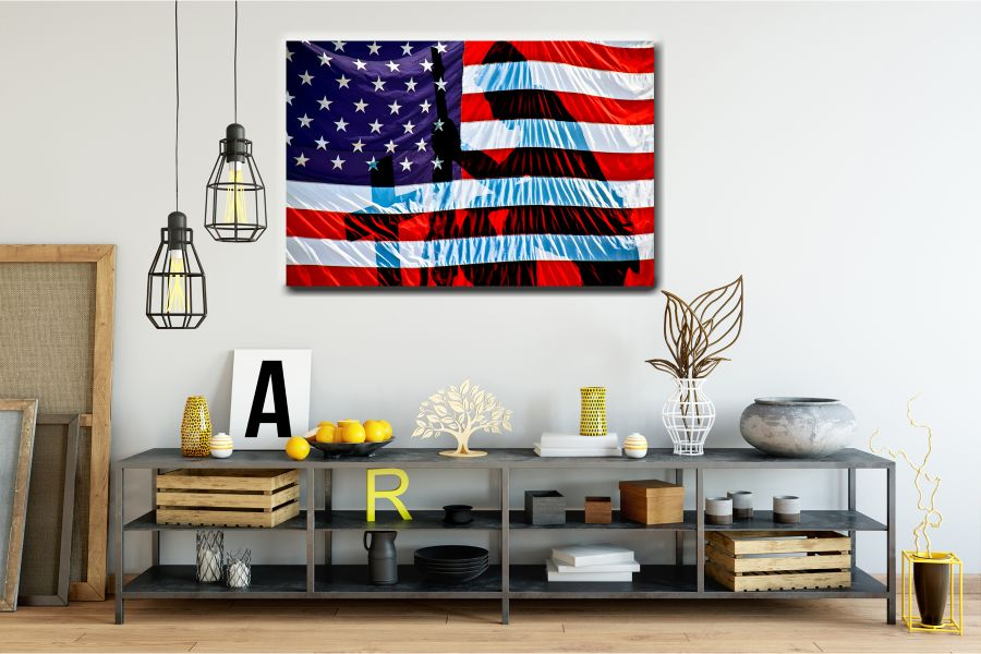 Canvas Art Wall Decor, PATRIOTIC, MILITARY , FLAGS, BATTLE SHIPS 60131 LARGE