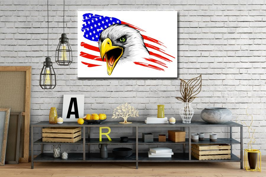 Canvas Art Wall Decor, PATRIOTIC, MILITARY , FLAGS, BATTLE SHIPS 60133 LARGE