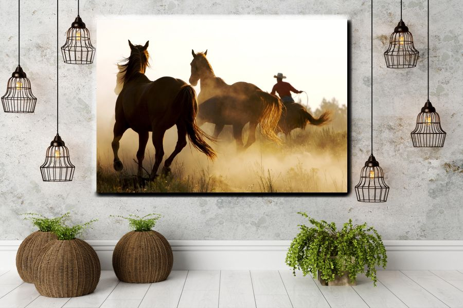 Canvas Art Wall Decor, ANIMALS ART, WILDWEST, COWBOY 66013 LARGE