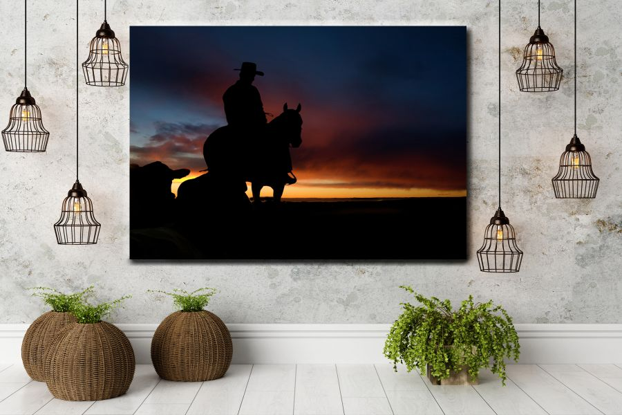 HD Metal Art, Indoor/Outdoor Wall Decor,  Pixolate, Subtint  WILDWEST, COYBOY, HORSES, BARNS 66048 200 THUMBNAIL