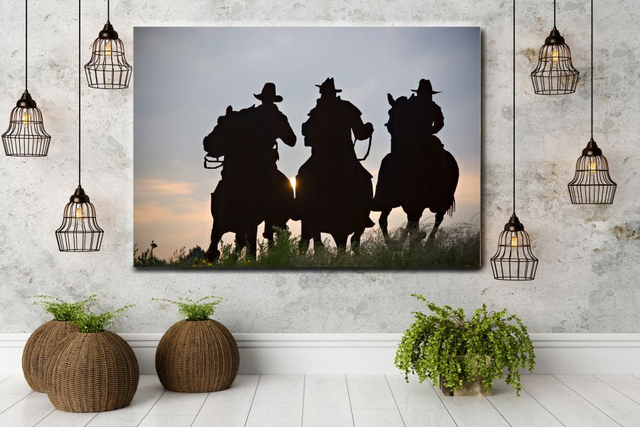 HD Metal Art, Indoor/Outdoor Wall Decor,  Pixolate, Subtint  WILDWEST, COYBOY, HORSES, BARNS 66059 200 THUMBNAIL