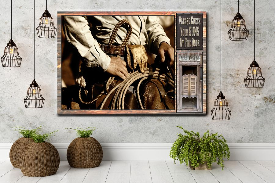 HD Metal Art, Indoor/Outdoor Wall Decor,  Pixolate, Subtint  WILDWEST, COYBOY, HORSES, BARNS 66122 200 THUMBNAIL