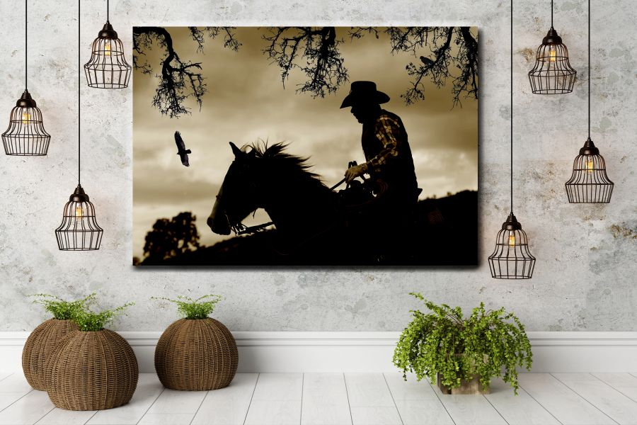 HD Metal Art, Indoor/Outdoor Wall Decor,  Pixolate, Subtint  WILDWEST, COYBOY, HORSES, BARNS 66665 200 THUMBNAIL