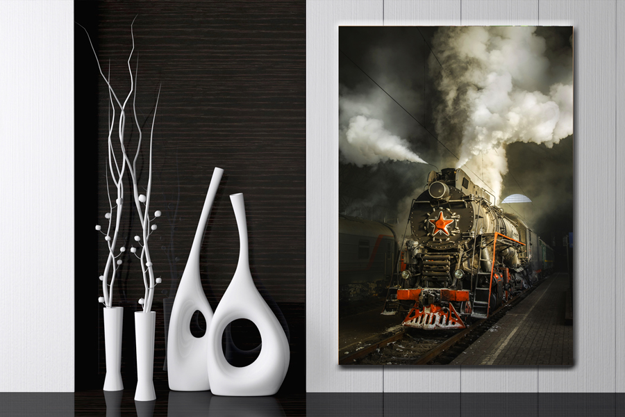 Canvas Art Wall Decor, TRANSPORTATION, TRAINS, RAILROAD, LOCOMOTIVE 68002 LARGE