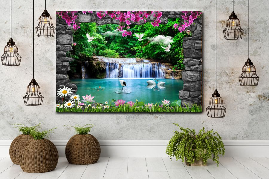 HD Metal Art, Indoor/Outdoor Wall Decor, WATERFALLS 80095 200 110 THUMBNAIL