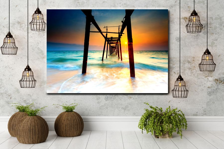 Canvas Art, Art Blvd, Pixolate, HD METAL ART, COASTAL, TROPICAL ART, BEACH, FLORIDA, PALM TREES, SURFING ART LARGE