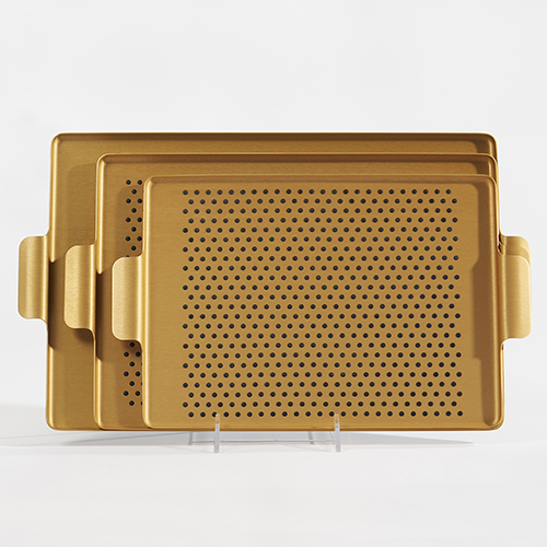 Kaymet Pressed Tray with Dot Grips~Brushed Gold MAIN