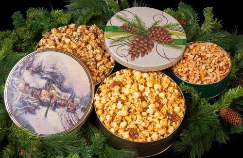 village christmas festive pine popcorn tins