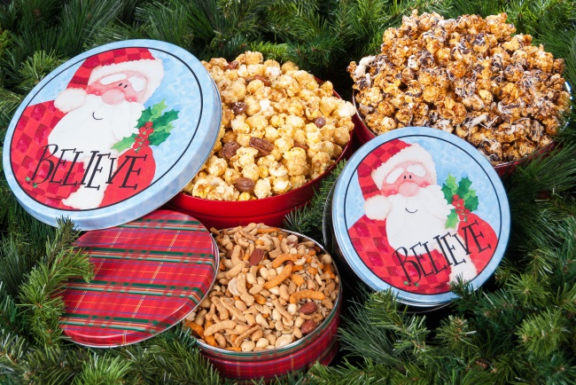 Red Plaid and Believe - Popcorn Tins