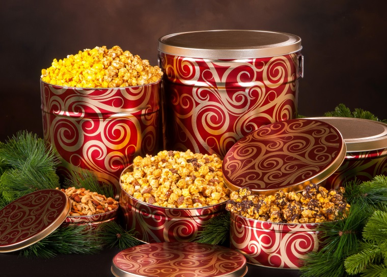 Golden Swirls - Popcorn Tins