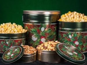 Christmas Bouquet Popcorn Tins