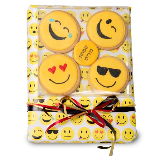 Emoji Classic Cookies - Champagne - Purim Basket - Basket