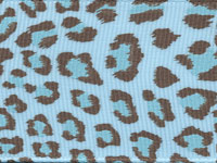 Leopard Ribbon (Grosgrain)  - Light Blue