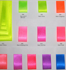 Neon Double Face Satin Ribbon - Sample Card