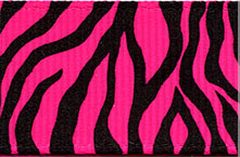 Neon Zebra Print Ribbon (Grosgrain) - Hot Pink