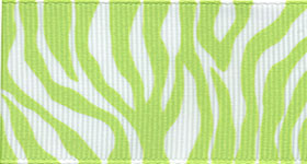 Zebra Fest Ribbon (Grosgrain) - Lime THUMBNAIL