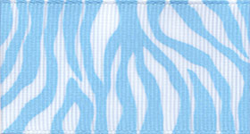 Zebra Fest Ribbon (Grosgrain) - Light Blue THUMBNAIL