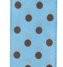 Polka Dot Ribbon - Baby Blue / Chocolate