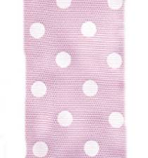 Polka Dot Ribbon - Baby Pink / White LARGE