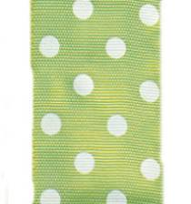 Polka Dot Ribbon - Lime / White LARGE