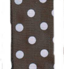 Polka Dot Ribbon - Espresso / Pink LARGE