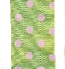 Polka Dot Ribbon - Lime / Pink