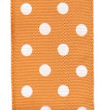 Polka Dot Ribbon - Orange / White Dots