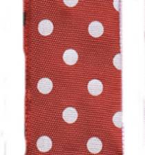 Polka Dot Ribbon - Holiday Red / White LARGE