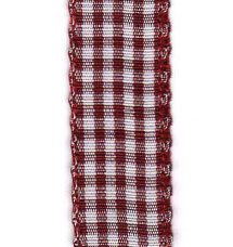 Country Check Ribbon - Burgundy LARGE
