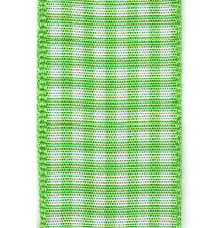Country Check Ribbon - Lime LARGE