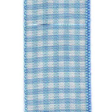 Country Check Ribbon - Light Blue LARGE