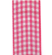 Country Check Ribbon - Shocking Pink LARGE