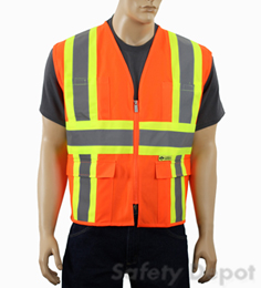 Orange Class 2 Safety Vest pockets