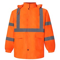 Class 3 Orange Reflective Rain Coat THUMBNAIL