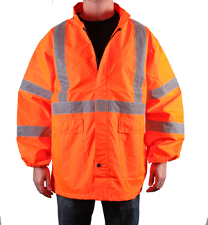 Class 3 Orange Reflective Rain Coat