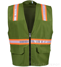 Olive Green Safety Vest THUMBNAIL