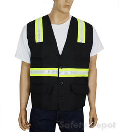 Black Button Closure Safety Vest
