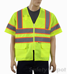Safety Vest Class 3 Lime Mesh Combo