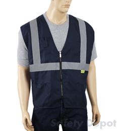 Navy Blue Zipper Closure Vest