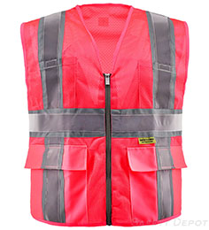 Pink Safety Vest Mesh with Pockets THUMBNAIL