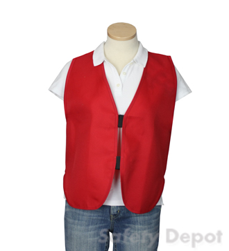 Red Women's Safety Vest, Plain Red, Red Vest