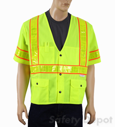 Class 3 Yellow Snap Front Safety Vest