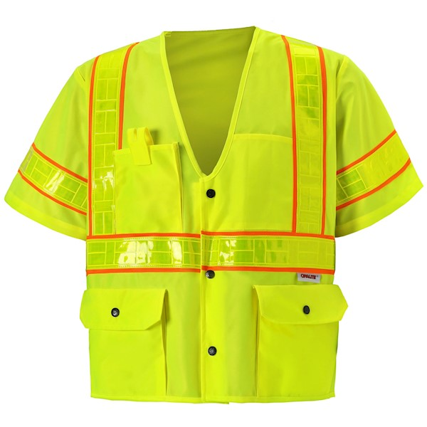 Class 3 Yellow Snap Safety Vest MAIN